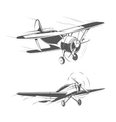 Biplane and monoplane aircrafts for vintage vector