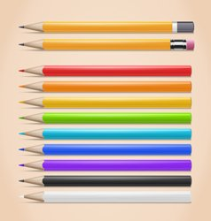 Realistic colorful pencils set vector