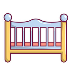 Baby bed icon cartoon style vector