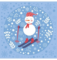 Beautiful Christmas card with snowman skiing vector image vector image