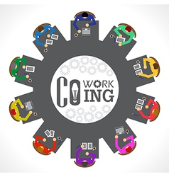 businessman co woking top view vector image