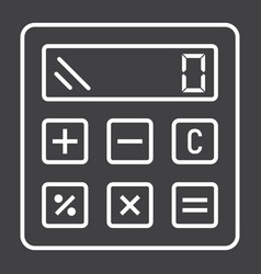 Calculate line icon business and calculator vector