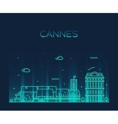Cannes skyline trendy linear vector