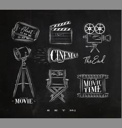 cinema symbols chalk vector image vector image