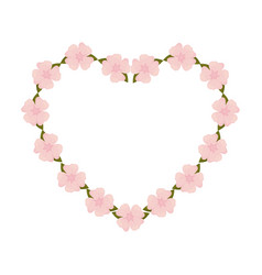 cute heart flowers decoration vector image