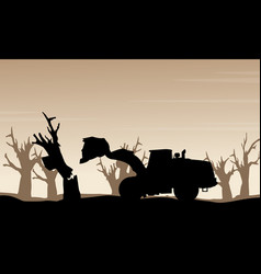 Damaged forest bad environment scenery silhouette vector