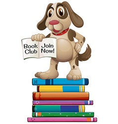 Dog and books vector