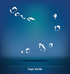 Doodle map of cape verde vector