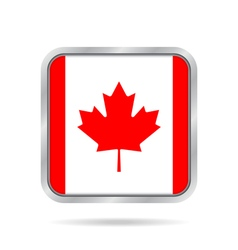 Flag of canada shiny metallic gray square button vector