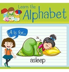 Flashcard letter a is for asleep vector