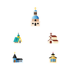 Flat icon christian set of catholic religion vector
