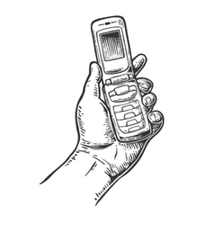 Flip phone hold male handvintage drawn vector
