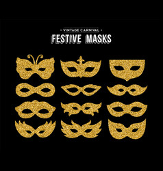 Gold glitter carnival mask set for party event vector