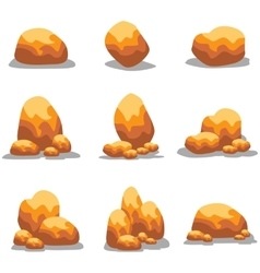 Goldn stone object set vector