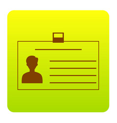 Identification card sign brown icon at vector