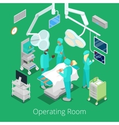 Isometric surgery operating room with doctors vector