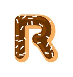 letter r donut font doughnut alphabet sweet vector image
