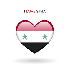 Love syria symbol flag heart glossy icon on a vector