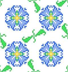 Seamless embroidered texture of abstract flowers vector