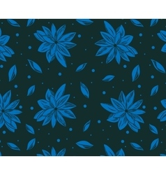 Seamless pattern with blue lotus and with dark vector