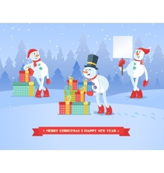 Set of snowmans christmas background vector image vector image