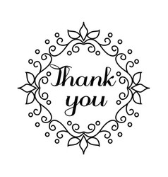 Thank you lettering in hand draw frame vector