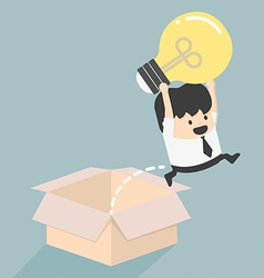 Think outside the box concept to success vector image