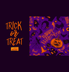 trick or treat and pattern vector image vector image