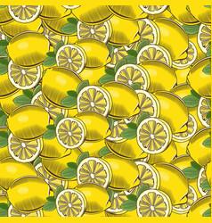 Vintage lemon seamless pattern vector