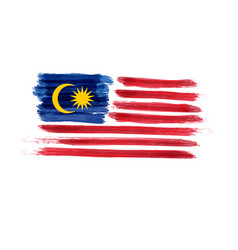 Watercolor imitation brushed flag of malaysia vector