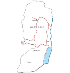 West Bank Black White Map With Major Cities vector image vector image