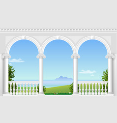 White arch of the palace vector