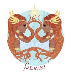 Astrological sign of gemini as a african girl vector