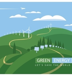 Green energy wind turbines and solar panels vector