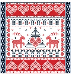 Christmas tile style withe reindeers in red and vector