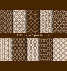 Vintage floral seamless pattern set retro asian vector