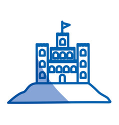 Blue shading silhouette of sand castle vector