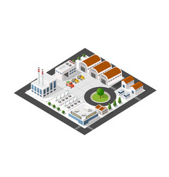 Isometric industrial landscape of the plant top vector