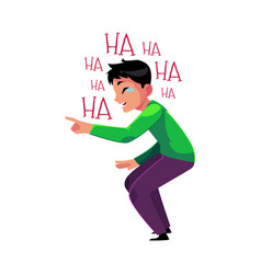 Man laughing out loud crying from laughter vector