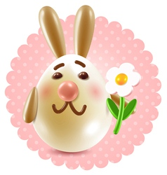 Easter bunny girl with a flower vector