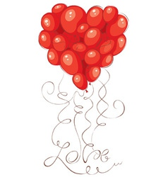 Valentine card - heart made of balloons vector