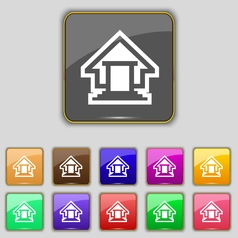 House icon sign set with eleven colored buttons vector