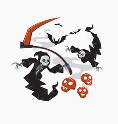 Grim reaper with scythe for halloween vector