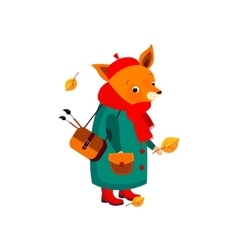 Cute fox artist in autumn vector