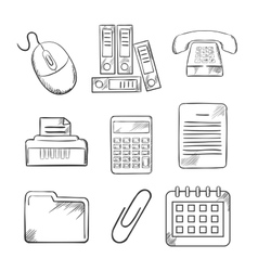 Sketched office and business icons vector image