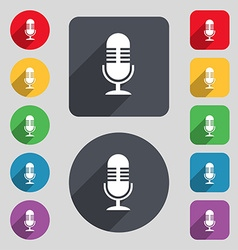 Microphone icon sign a set of 12 colored buttons vector