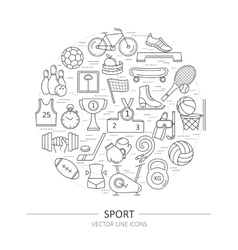 Modern thin line of icons on sports themes vector