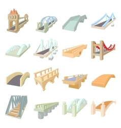 Bridge set icons vector