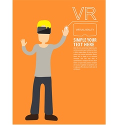 Man wear vr playing vector