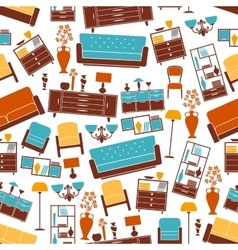 Furniture seamless pattern with interior elements vector